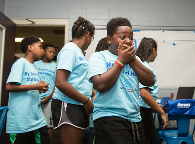 Today Aaron's, Inc. and Progressive Leasing announced the locations for the 2017-2018 Boys & Girls Clubs of America Keystone Club Makeovers as part of their national, multi-year partnership with the organization. Pictured here: In late September, Aaron's surprised teens by unveiling a newly-renovated Keystone Teen Center at the Wake Forest Boys & Girls Club. The event marked the 22nd Keystone Club refresh by Aaron's, Inc. in communities across the U.S.