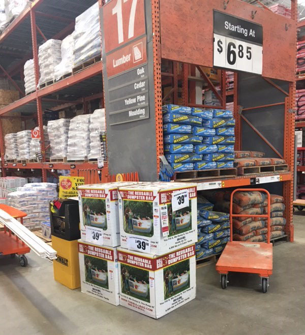 BullBag reusable dumpster bags can be found in the Pro section of participating Houston, TX Home Depot Stores to enable those impacted by Hurricane Harvey to more quickly and easily return their homes and properties to normal.