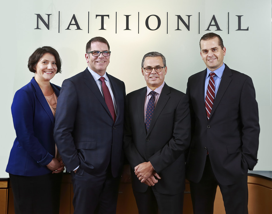 NATIONAL Public Relations' Vancouver senior leadership team, from left: Michelle Ward, Vice-President; Michael Goehring, Partner; Paul Welsh, Managing Partner; Glen Edwards, Senior Vice-President, Client Strategy (CNW Group/NATIONAL Public Relations)