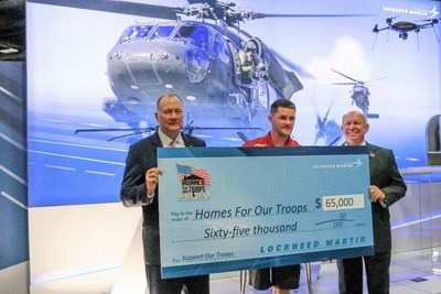 Dan Schultz (left), President, Sikorsky, a Lockheed Martin company, presented a $65,000 grant to Homes For Our Troops, at an event at the Association of the United States Army Annual Meeting & Exposition in Washington, D.C. The 2017 grant will help Homes For Our Troops build a home in Orlando for Army Sgt. Patrick Wickens (center), who was medically retired in 2006. Brigadier General (Ret.) Tom Landwermeyer, President, Homes For Our Troops, accepted the donation.