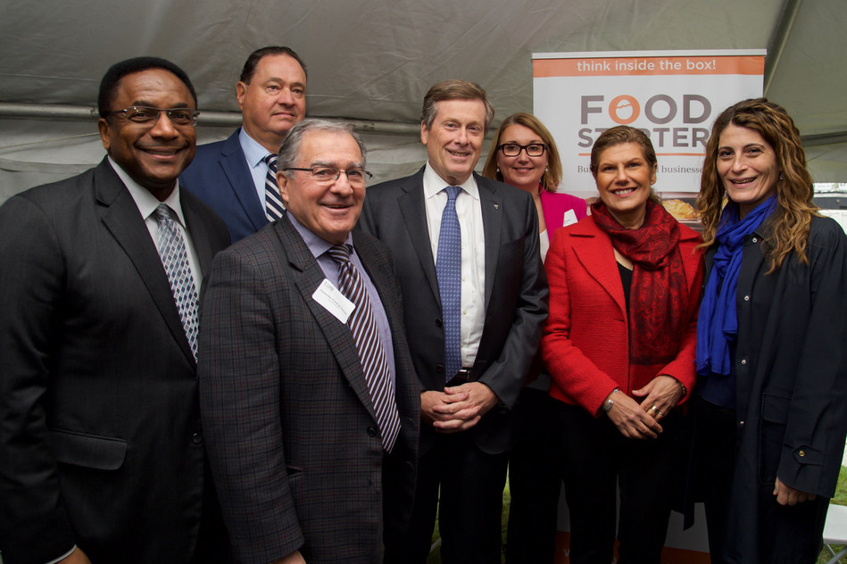 John Tory, Mayor of Toronto, Councillor Frank Di Giorgio, Councillor Michael Thompson, Councillor Mary Fragedakis and Minister Laura Albanese joined Dana McCauley and Ted McKechnie from Food Starter, a Canadian not-for-profit organization focused on supporting up-and-coming food businesses, to celebrate the official grand opening of the facility. (CNW Group/Food Starter)