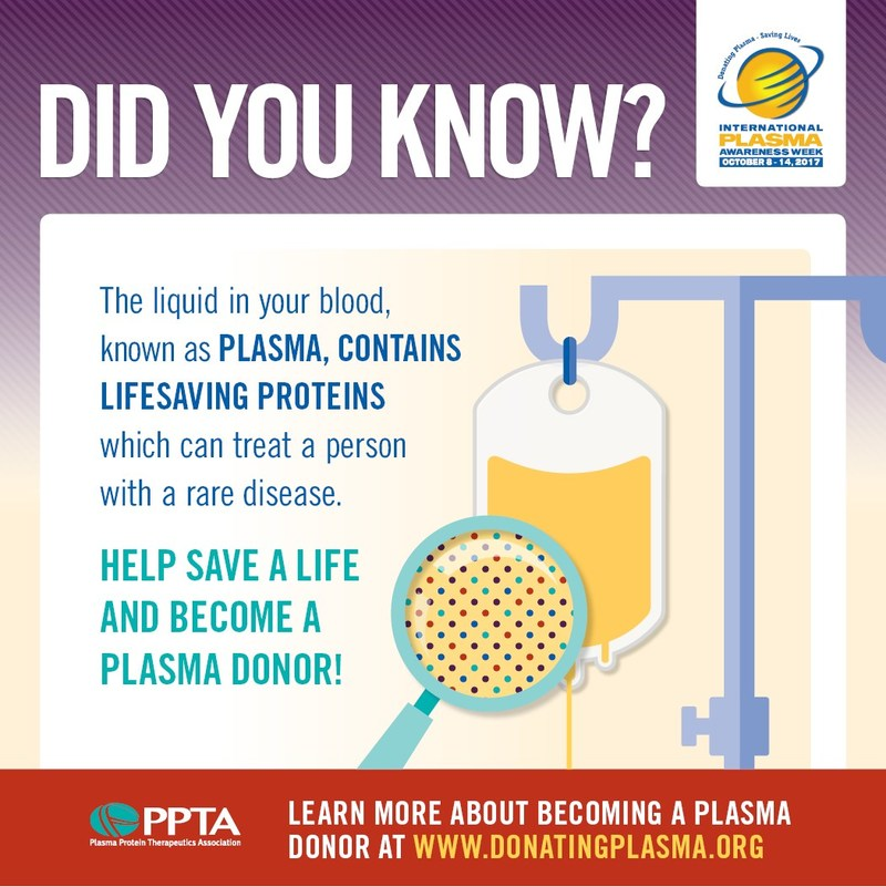 55% of total blood volume is made up of #plasma. Plasma contains water, salts, and proteins that help the body defend itself. Only a small number of people living in the U.S. who are eligible to donate blood or source plasma actually donate. What's important is that we encourage all forms of donation from those who are eligible, so that they may contribute lifesaving blood and source plasma to those in need. Learn more about plasma by visiting www.DonatingPlasma.org.