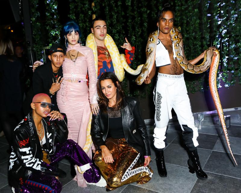 Slick Woods, Sita Abellan, Matthew Mazur, Maria Buccellati, Richie Shazam at the launch of the FAITH CONNEXION x Sita Abellan capsule collection at Moxy Times Square.