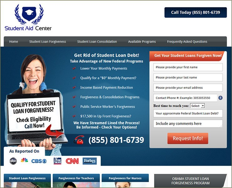 (Screenshot of sample deceptive student debt relief ad)