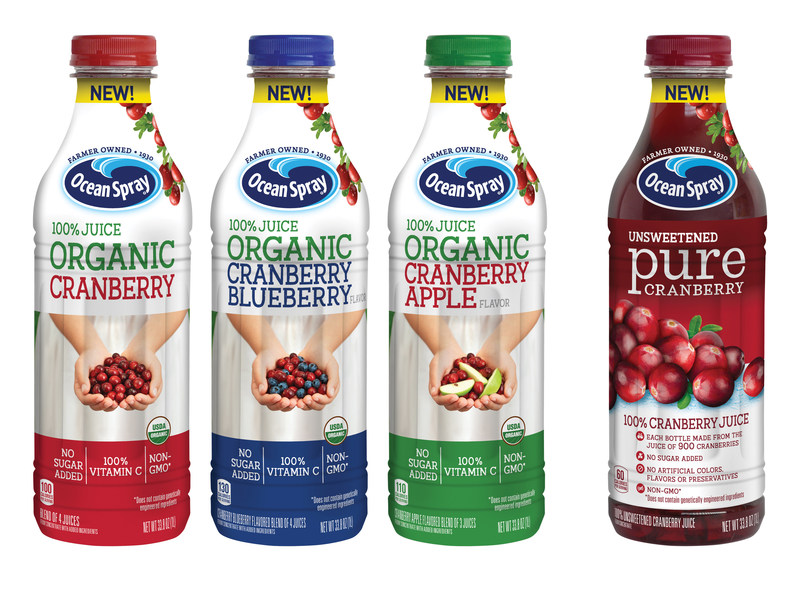 """Ocean Spray® rounds out its product portfolio of """"good-for-you"""" juices and juice drinks with new Organic 100% Juice Blend and Pure Cranberry (Unsweetened) 100% Juice, available nationwide."""