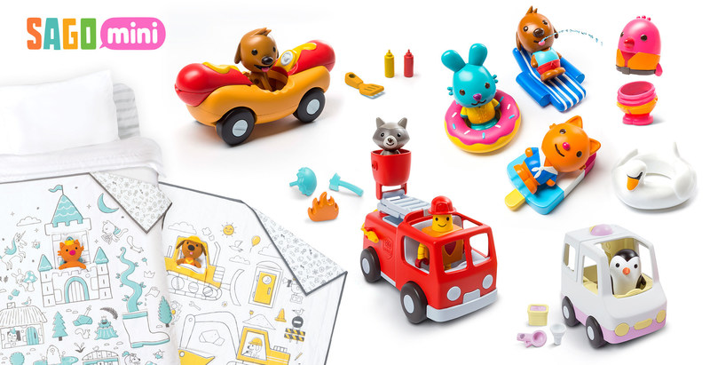 New thoughtfully-designed toys from Sago Mini: Easy Clean Bath Squirters, Vehicle Playsets and Tuck Me In Quilts (CNW Group/Sago Mini)