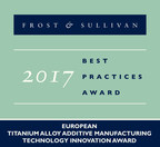 Frost & Sullivan Recognizes Norsk Titanium AS with the European Technology Innovation Award for Its Novel RPD™ Additive Manufacturing Technique
