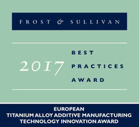 2017 European Titanium Alloy Additive Manufacturing Technology Innovation Award (PRNewsfoto/Frost & Sullivan)