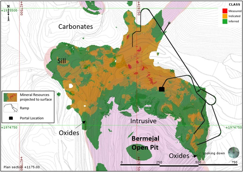 Figure 2: Plan View Showing the Bermejal Underground Mineral Resource Estimate by Classification (CNW Group/Leagold Mining Corporation)