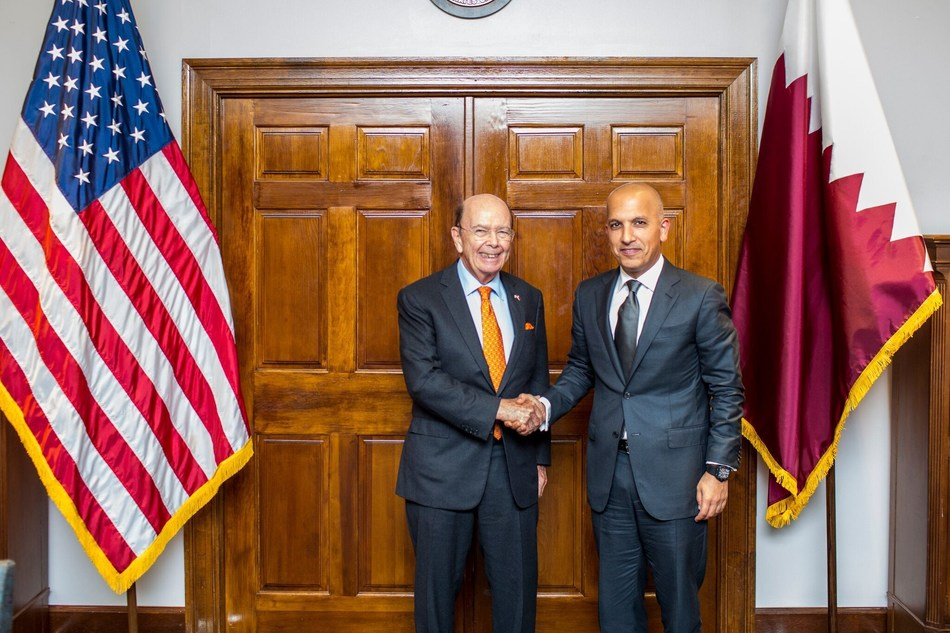 Wilbur Ross United States Secretary of Commerce and Qatar's Minister of Finance, H.E. Ali Shareef Al-Emadi (PRNewsfoto/Minister of Finance - Qatar)