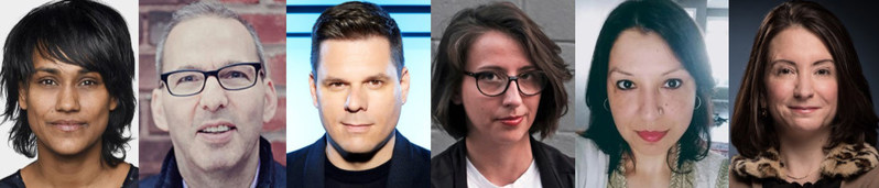 Speakers for the CJF J-Talk in Toronto include Denise Balkissoon, Jonathan Kay, Patrick Lagacé, Jane Lytvynenko and Naheed Mustafa. Anne Kornblut will moderate the event on October 23. (CNW Group/Canadian Journalism Foundation)