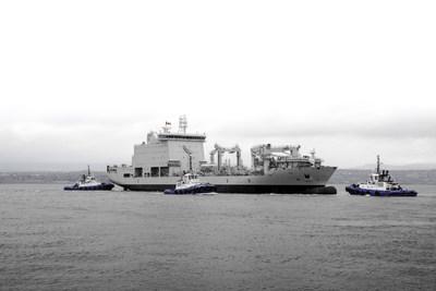 Tous les voyants sont au vert : Réglé au quart de tour, le navire de soutien militaire de la classe Resolve est lancé (Groupe CNW/Chantier Davie Canada Inc.)
