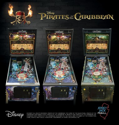 Jersey Jack Pinball releases newest game, Disney's Pirates of the Caribbean, at Pinball Expo 2017. Pictured are the three models available now for pre-order at: store.jerseyjackpinball.com/Games/Pirates-of-the-Carribean/