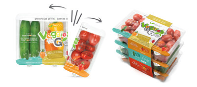 Mucci Farms - Veggies to Go packaging - 9 ounce package 3 tier 27 ounce package. Each individual compartment snaps off as 3 separate 3 ounce containers (CNW Group/Mucci Farms)