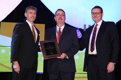 NCPA's 2017 Willard B. Simmons Independent Pharmacist of the Year Award Presentation. Left to Right: NCPA CEO B. Douglas Hoey, RPh, MBA; Lynn Connelly, RPh; and Mike McBride of Upsher-Smith.