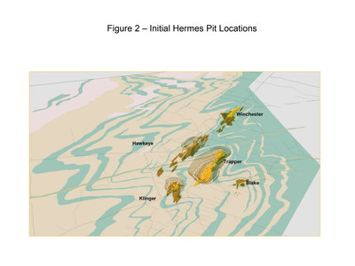Figure 2 – Initial Hermes Pit Locations (CNW Group/Superior Gold)