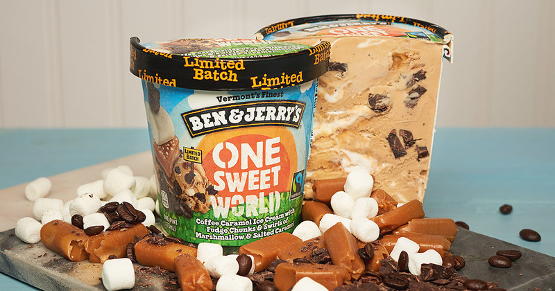 Ben & Jerry's One Sweet World is a delicious blend of coffee caramel ice cream with swirls of marshmallow and salted caramel with chocolaty chunks.
