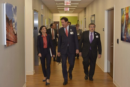 Seema Verma, Administrator of the Center for Medicare and Medicaid Services (CMS), visited Hartford Hospital, the first stop on her national listening tour. Verma is walking with Hartford HealthCare CEO Elliot Joseph and Hartford HealthCare Chief Medical Officer, Rocco Orlando, M.D.