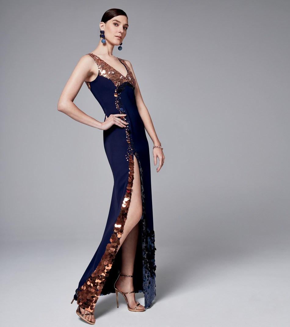 ANTHONY THOMAS GALANTE FOR NORELL NEW YORK Navy Hand-Sequined Silk Georgette Gown [Credit: Courtesy of Neiman Marcus]