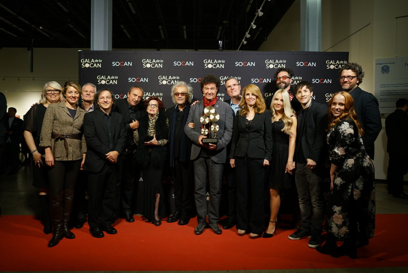From left to right: Geneviève Côté (Chief of Québec Affairs), Mélanie Joly (Minister of Canadian Heritage), Daniel Lafrance (Editorial Avenue), Stan Meissner (SOCAN's Chairman of the board), Claude Dubois, Monique Leyrac, Luc Plamondon, Robert Charlebois, Eric Baptiste (SOCAN's CEO), France D'Amour, Mariane Cossette-Bacon, Cristobal Tapia de Veer, John Nathaniel, Alexe Gaudreault, Michel Corriveau. (Photo: Benoit Rousseau) (CNW Group/SOCAN)