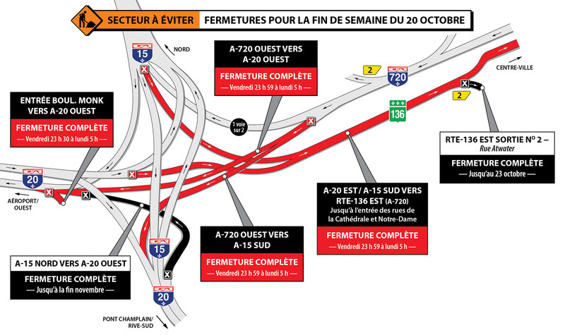 Projet Turcot - Secteur à éviter - Fermetures dans le secteur des échangeurs Turcot et Saint-Pierre durant la fin de semaine du 20 octobre 2017 (Groupe CNW/Ministère des Transports, de la Mobilité durable et de l'Électrification des transports)