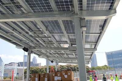 Georgia Power's solar project at Mercedes-Benz Stadium includes three phases with arrays over several parking areas and entry gates. Photo credit: Georgia Power