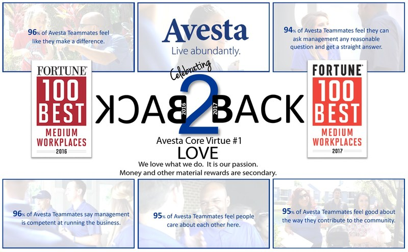 Avesta Named a 2017 Best Medium Workplace by FORTUNE and Great Place to Work®