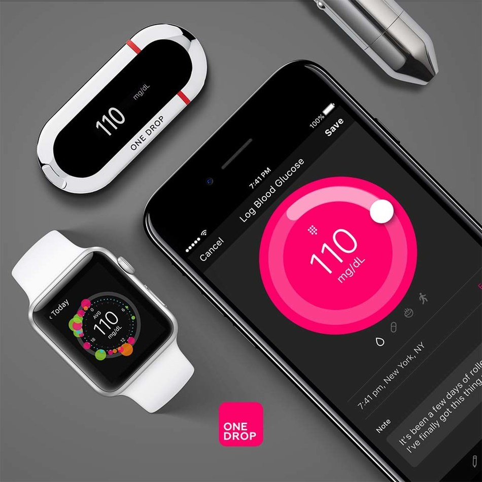 One Drop is a fully integrated diabetes management platform right on your mobile phone (PRNewsfoto/One Drop)