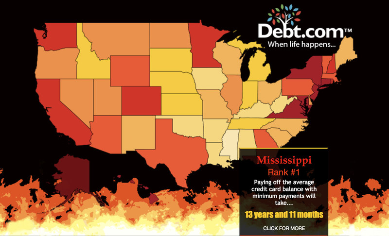 Debtcom Maps US Credit Card Debt And Income Showing Where It Is - Income heat map us