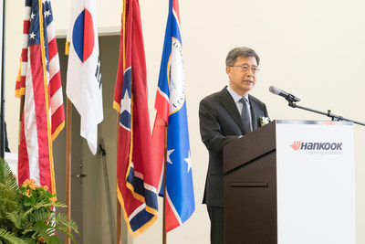 Seung Hwa Suh, Global CEO of Hankook Tire, speaks to attendees of the Tennessee Plant Grand Opening ceremony in Clarksville, Tenn.