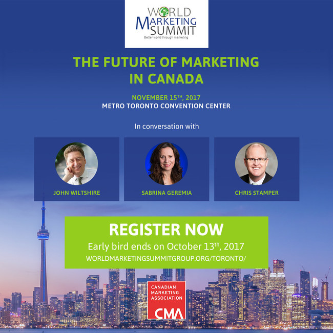 CMA Panel at the World Marketing Summit, Nov 15: The Future of Marketing in Canada (CNW Group/Canadian Marketing Association)