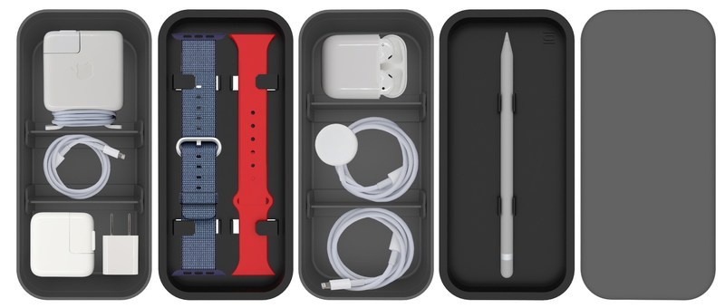 From Travel to Workspace Organization, BENTO STACK holds up to Ten Different Accessories in an Ultra Compact Case