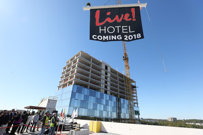 The Cordish Companies raises the final beam on its 17-story, 310-room flagship luxury Live! Hotel at Live! Casino in Hanover, Maryland, the first hotel property in the country to carry the Live! brand. The hotel's topping off ceremony, a traditional construction event marking the completion of the structural phase of construction, took place on October 17, 2017.