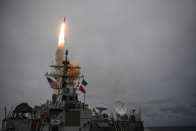 The Arleigh Burke-class guided-missile destroyer USS Donald Cook (DDG 75) fires a Raytheon-made Standard Missile-3 during Formidable Shield 2017. (Photo courtesy of U.S. Navy)