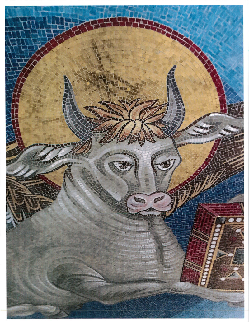 An image of a cow is included in the Pendentives supporting the dome of the Cathedral of the Transfiguration. (CNW Group/Romandale Farms Limited)