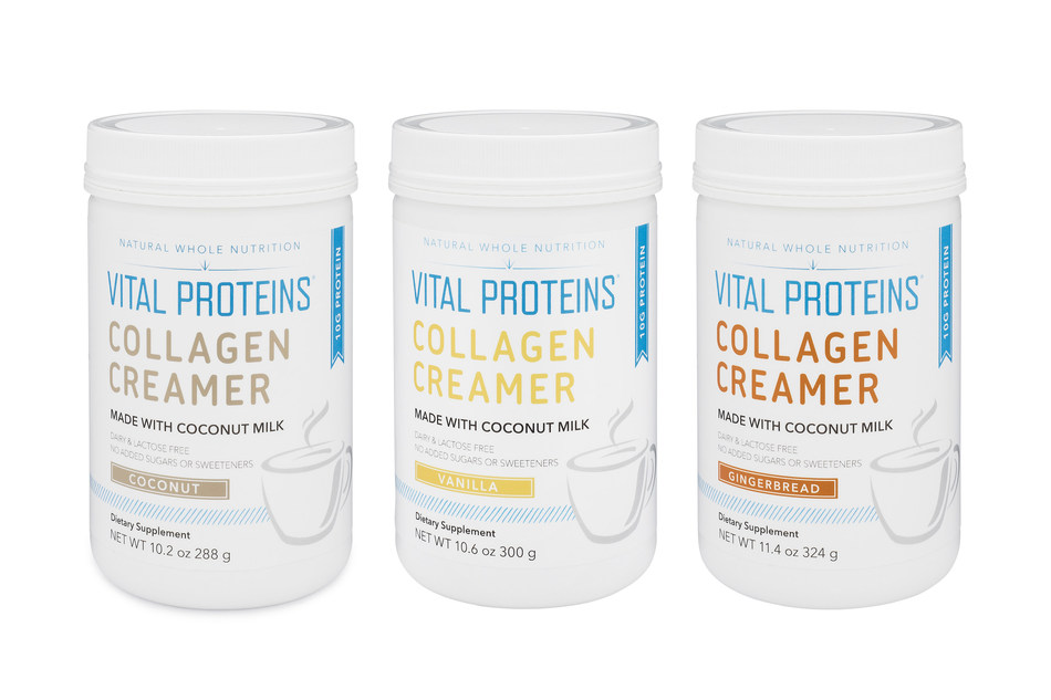 (From left to right: Collagen Creamer (Coconut), 12 servings | $29; Collagen Creamer (Vanilla), 12 servings | $29; Collagen Creamer (Gingerbread), 12 servings | $29)