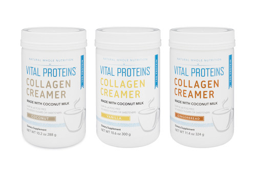 (From left to right: Collagen Creamer (Coconut), 12 servings   $29; Collagen Creamer (Vanilla), 12 servings   $29; Collagen Creamer (Gingerbread), 12 servings   $29)