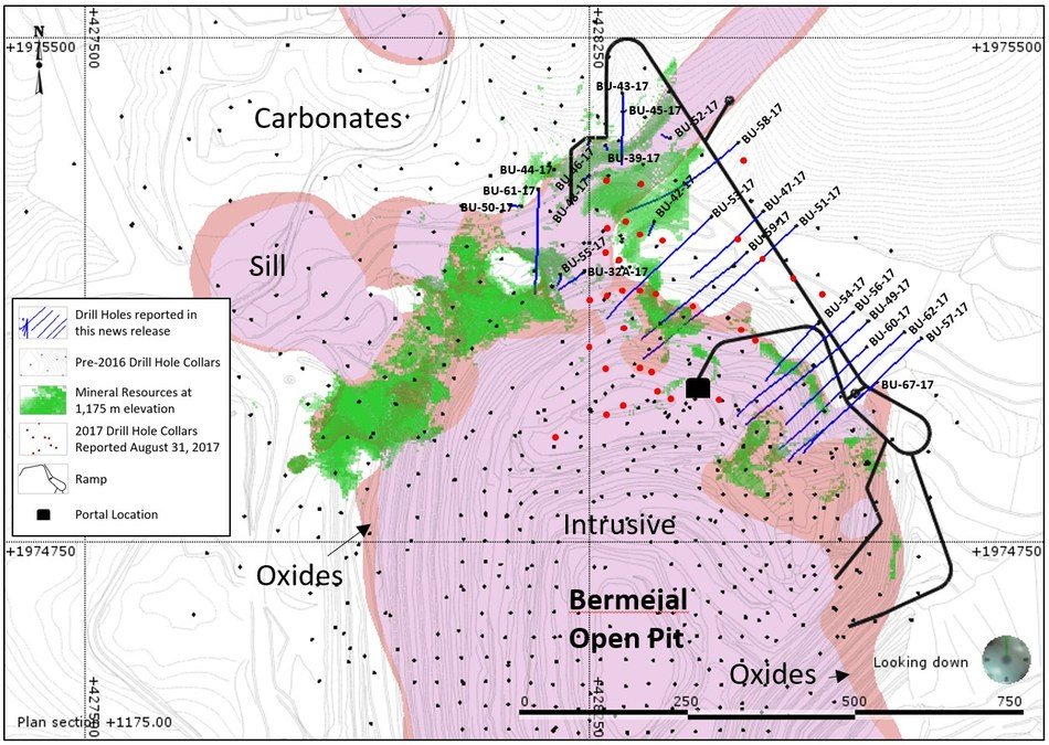 Figure 1: Plan View Map of Bermejal Area Showing Geology, Drill Holes Reported and Outline of Bermejal Underground Resource at 1,175 metres elevation (CNW Group/Leagold Mining Corporation)