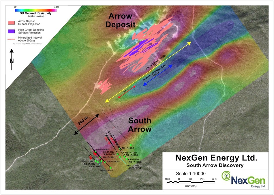 Figure 2: South Arrow Drill Hole Locations (CNW Group/NexGen Energy Ltd.)