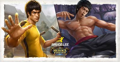 Bruce Lee e uma de suas incríveis Skins em Heroes Evolved