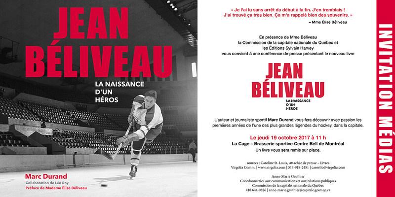 Invitation aux médias - Lancement montréalais du livre Jean Béliveau - La naissance d'un héros (Groupe CNW/Commission de la capitale nationale du Québec (CCNQ))