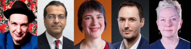 Speakers for The Canadian Journalism Foundation's Nov. 8 J-Talk in Toronto are Dave Bidini, Saleem Khan, Erin Millar and James Mirtle. Catherine Wallace moderates this discussion about journalism models. (CNW Group/Canadian Journalism Foundation)