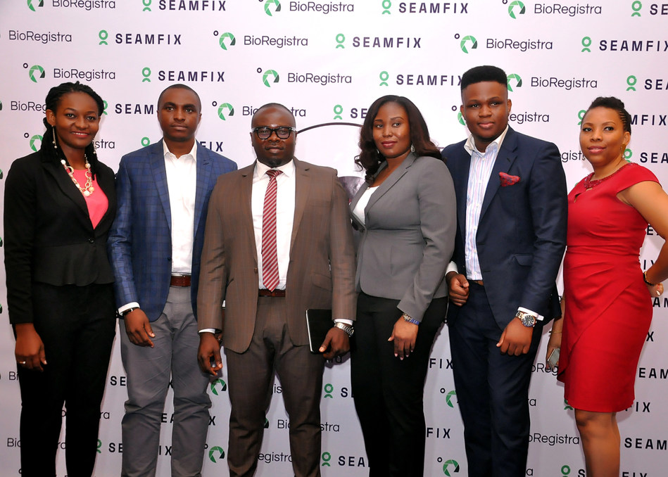 (L-R): Ugochi Nweze, head, Business Development; Chibuzor Onwurah, executive director; Chimezie Emewulu, managing director; Olamide Ajah, head, Service Delivery; Frank Atube, acting head, Product Development and Management and Chinenye Chidebelu, head, Human Resources, all from Seamfix Nigeria Limited at the launch of BioRegistra on Tuesday, October 17, 2017 at Four Point by Sheraton, Oniru, Lagos State. (PRNewsfoto/Seamfix)