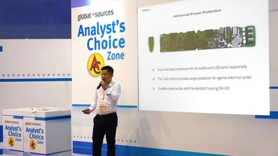"Felix Liu, CEO of VOCOlinc, presented its all new PM2 Smart Wi-Fi Power Strip at the ""Analyst's Choice"" event"