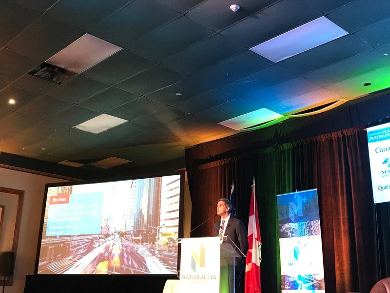 Maxime Savignac, Vice President, Human Resources, Communications & External Relations at IOC Canada participates at the 5th Naturallia congress in Roberval (CNW Group/Rio Tinto)