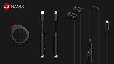 dBMAGIX products showcased at the METF: the PLX1 Lightning Connector Earphone; the AC1 Drip 2-in-1 Lightning Audio Amplifier; the AC3 Flute Lightning Audio Amplifier for iPhone 7/7P/8/8P/X.