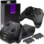 The Fosmon Dual Conductive Charging Station compatible with the new Xbox One X is a convenient station charges up to two controllers on contact, providing up to 28 hours of gameplay per charge.