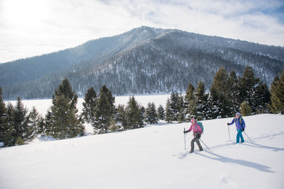 Melissa Alder and Kelli Sanders traverse the snow-covered trails in West Yellowstone