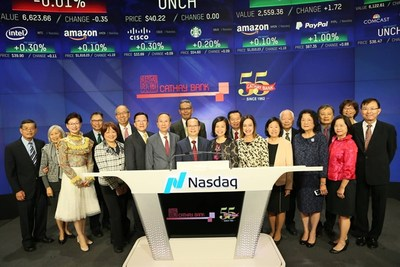 Today, the holding company of Cathay Bank, Cathay General Bancorp was invited to the New York NASDAQ market site.  Executive Chairman Mr. Dunson Cheng and CEO & President Mr. Pin Tai, rang the opening bell, along with the board of directors, executives and guests.