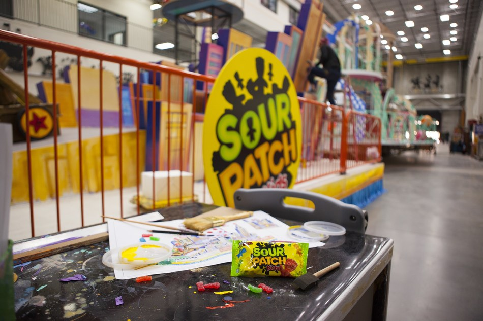 The first ever SOUR PATCH KIDS brand Macy's Thanksgiving Day Parade® float, which will rise nearly three stories high, is currently under construction at Macy's Studio.